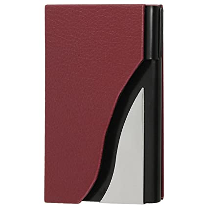 Amazon uxcell faux leather coated plastic business card holder uxcell faux leather coated plastic business card holdercase red colourmoves