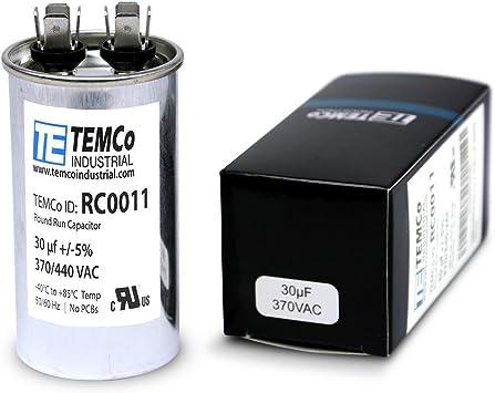 TEMCo 30 MFD uF Run Capacitor 370 vac Volts 10 LOT AC Motor HVAC 30 uf