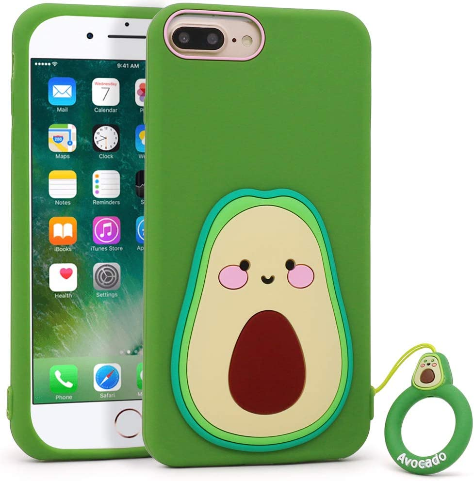 YONOCOSTA Cute iPhone 7 Plus Case, iPhone 8 Plus Case, Funny 3D Cartoon Fruit Avocado Shaped Soft Silicone Shockproof Back Case Cover with Keychain for iPhone 7 Plus/iPhone 8 Plus (5.5
