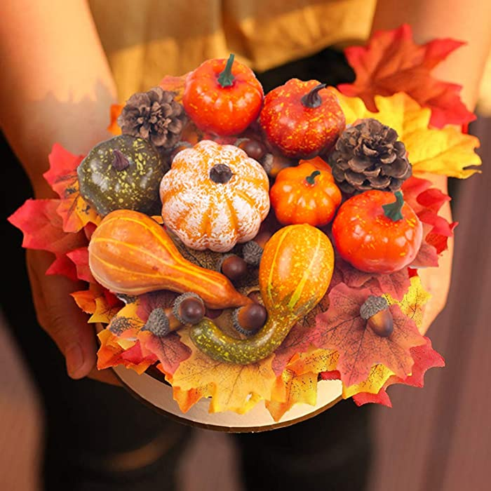 DomeStar Halloween Mini Artificial Pumpkins and Gourds Maple Leaves Pine Cones Acorns