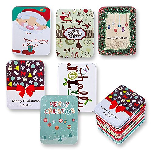 6 Pack Christmas Holiday Gift Card Tin Holders Box Set by Gift - 6 Gift Holder Pack