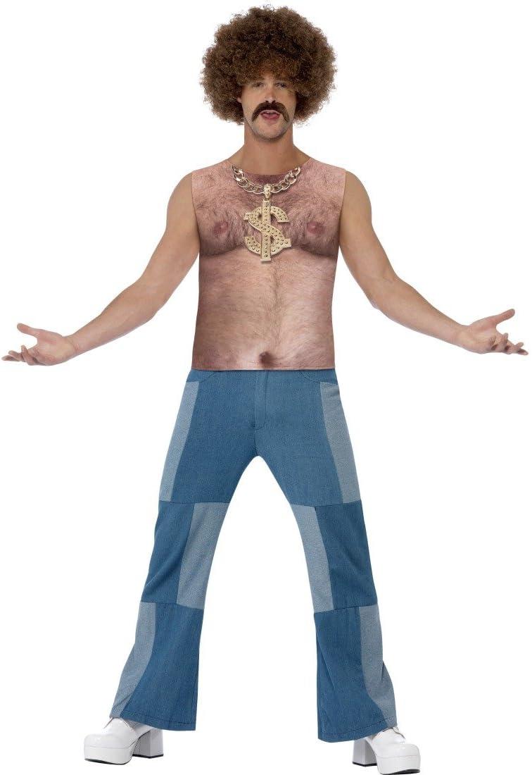 Parte superior de pelo en el pecho peluca de pelo-camiseta tupé pelo en pecho estampado 70er años camisa hippie pelo de pecho con diseño de accesorios de vestuario del Carnaval de disfraces para hombr