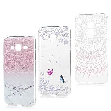 3x Funda para Samsung Galaxy J3(2016), J310 Carcasa Silicona Gel Case Ultra Delgado TPU Goma Flexible Cover para Samsung Galaxy J3(2016)/J310 - Mármol ...