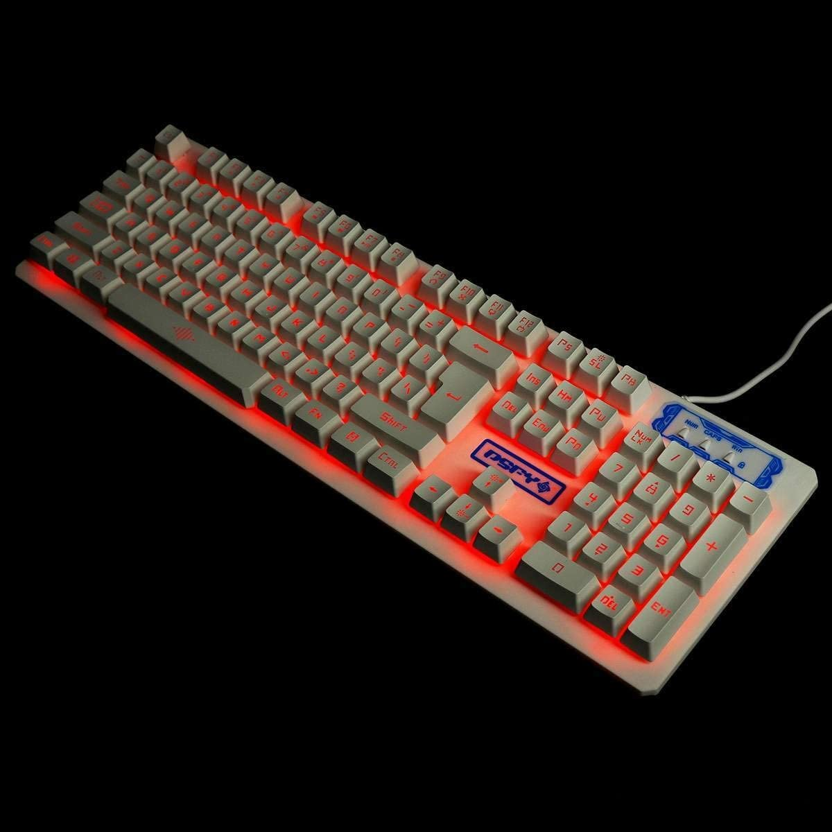 Gaming Keyboard Illuminated Gaming Mouses Pad Accessories Home Mechanical Wired USB Keyboard Set Computer Desktop Backlight Headset Keyboard Color : Blue