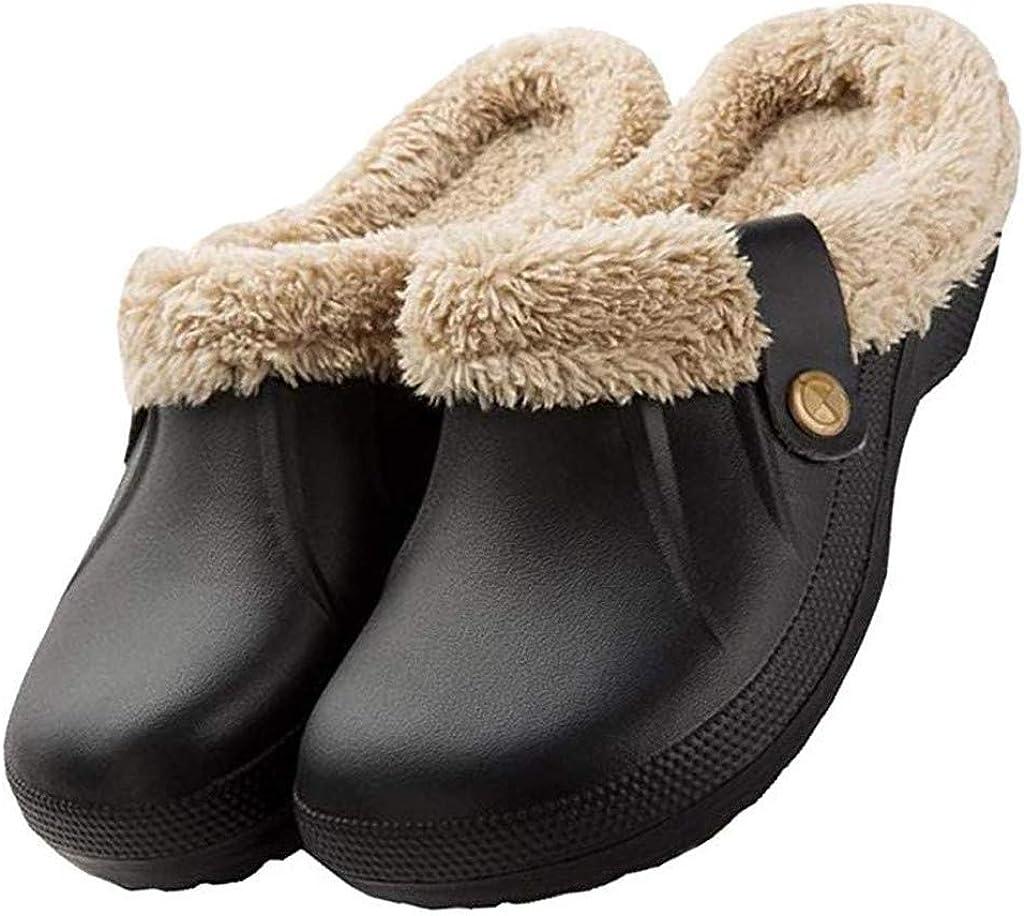 Toimothcn Women Men Waterproof Slippers Fur Lined Clogs Garden Shoes Winter House Slippers Outdoor Mules