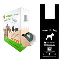 Scot Petshop 300 Dog Poo Bags With Handles | Biodegradable Dog Waste Bags | Tie Handles On A Roll | Dark Green Extra Strong Dog Poop Bags In Dispenser Box