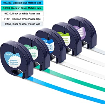 """10PK Black on White Tape Label for DYMO Letra Tag Lablemaker LT 91330 12mm 1//2/"""""""