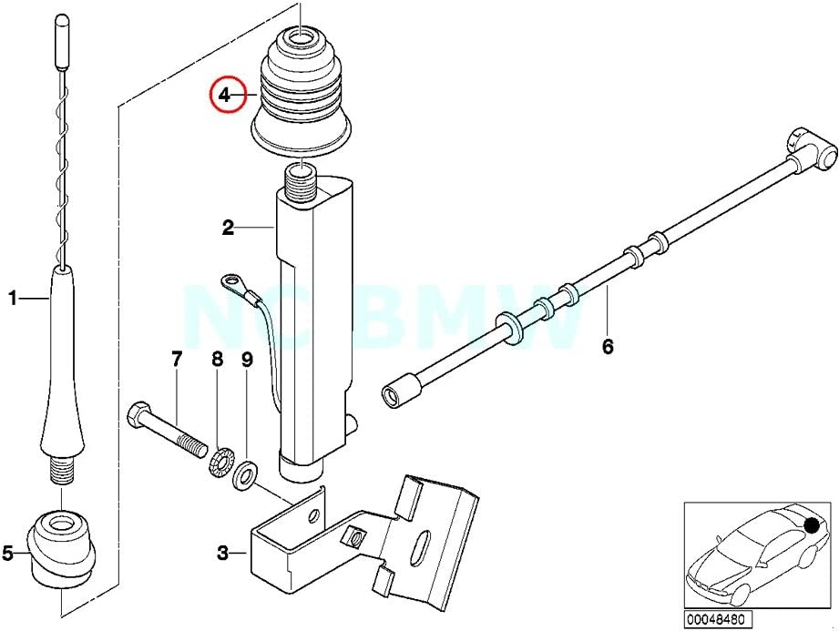 BMW 65-21-8-389-698 Grommet , Short Rod Aerial,EX:H6510D