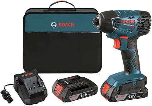 Factory-Reconditioned Bosch 25618-02-RT 18V Cordless Lithium-Ion 1 4 in. Impact Driver w SlimPack Batteries