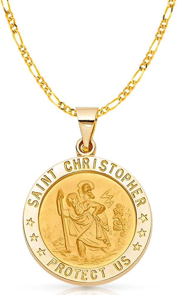 Silver Yellow Plated St Christopher Charm 22mm
