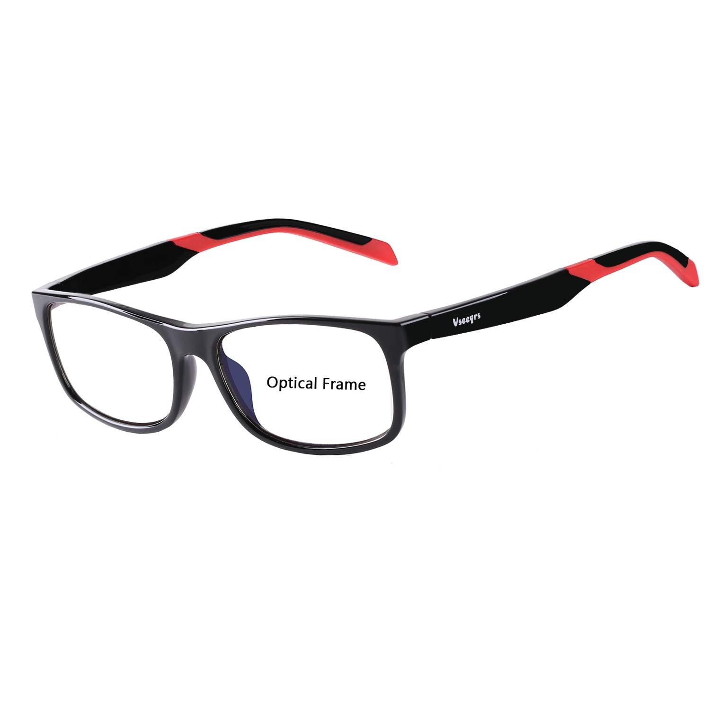 f6482adba07 Amazon.com  Eyewear Frames-Vseegrs Fashion Designer Rectangle Lightweight  Non-Prescription Optical Eyeglasses Frame with Clear Lenses for Men Women  (Black)  ...