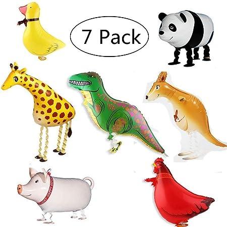 7 piezas Walking globos de animales globos de papel de aluminio ...