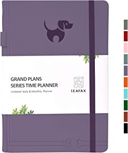 "Undated Daily Planner-Agenda Book, Hourly/Day/Weekly/Monthly Planner, Personal Organizer, To-Do List- 240 pages 5.8""x8.2"" A5 - Leather Hardcover, 100gsm Thick Paper,Inner Pocket- LEAFAX(Purple)"