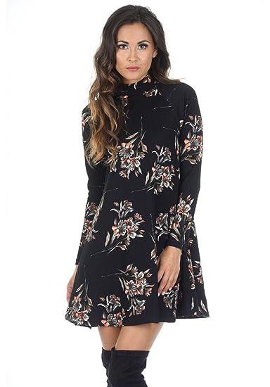 Ax Paris Womens High Neck Long Sleeve Floral Dressblack Size12