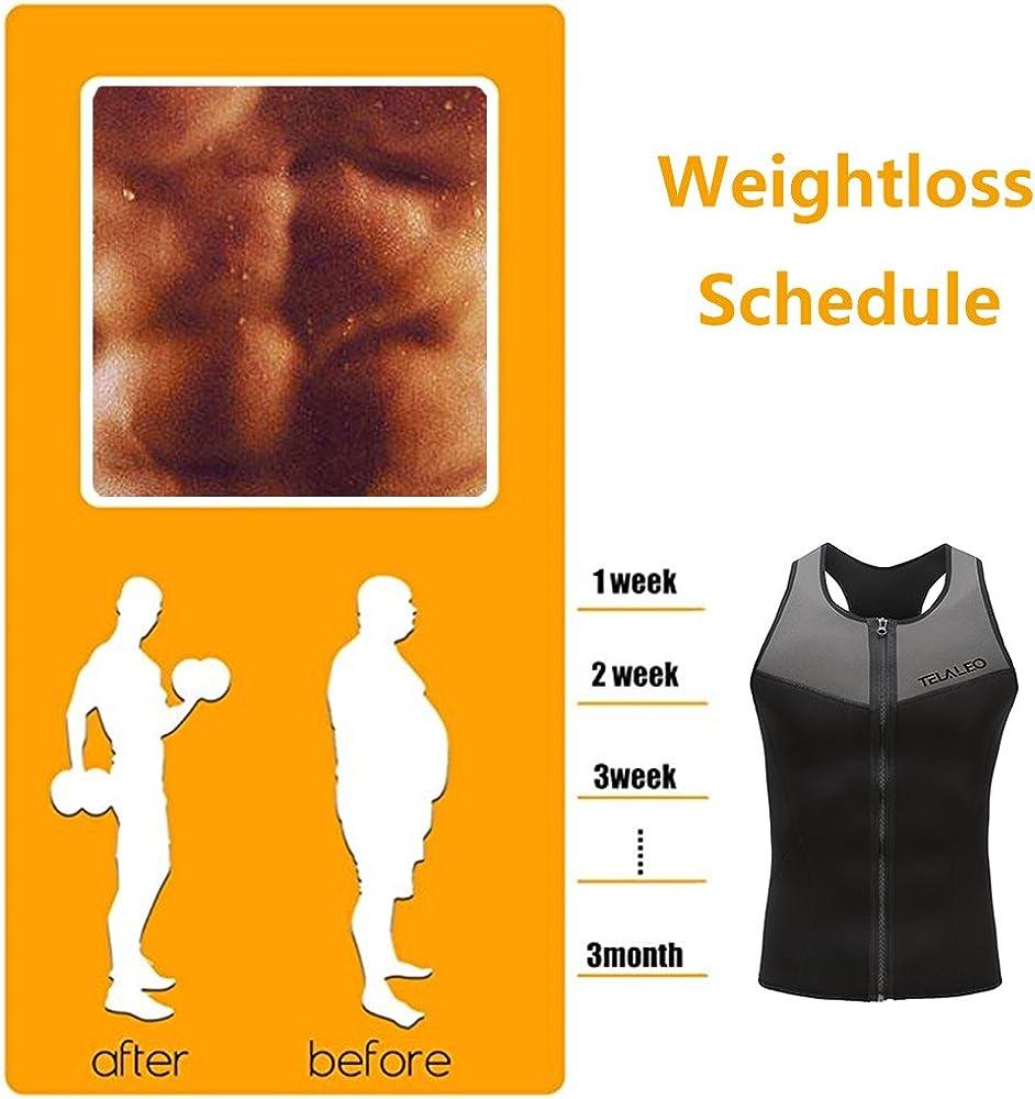 Bodyshaper Schwitzhemd Taillentrainer TELALEO Teleo Neopren-Saunweste f/ür Herren Abnehmen Anzug Gewichtsverlust