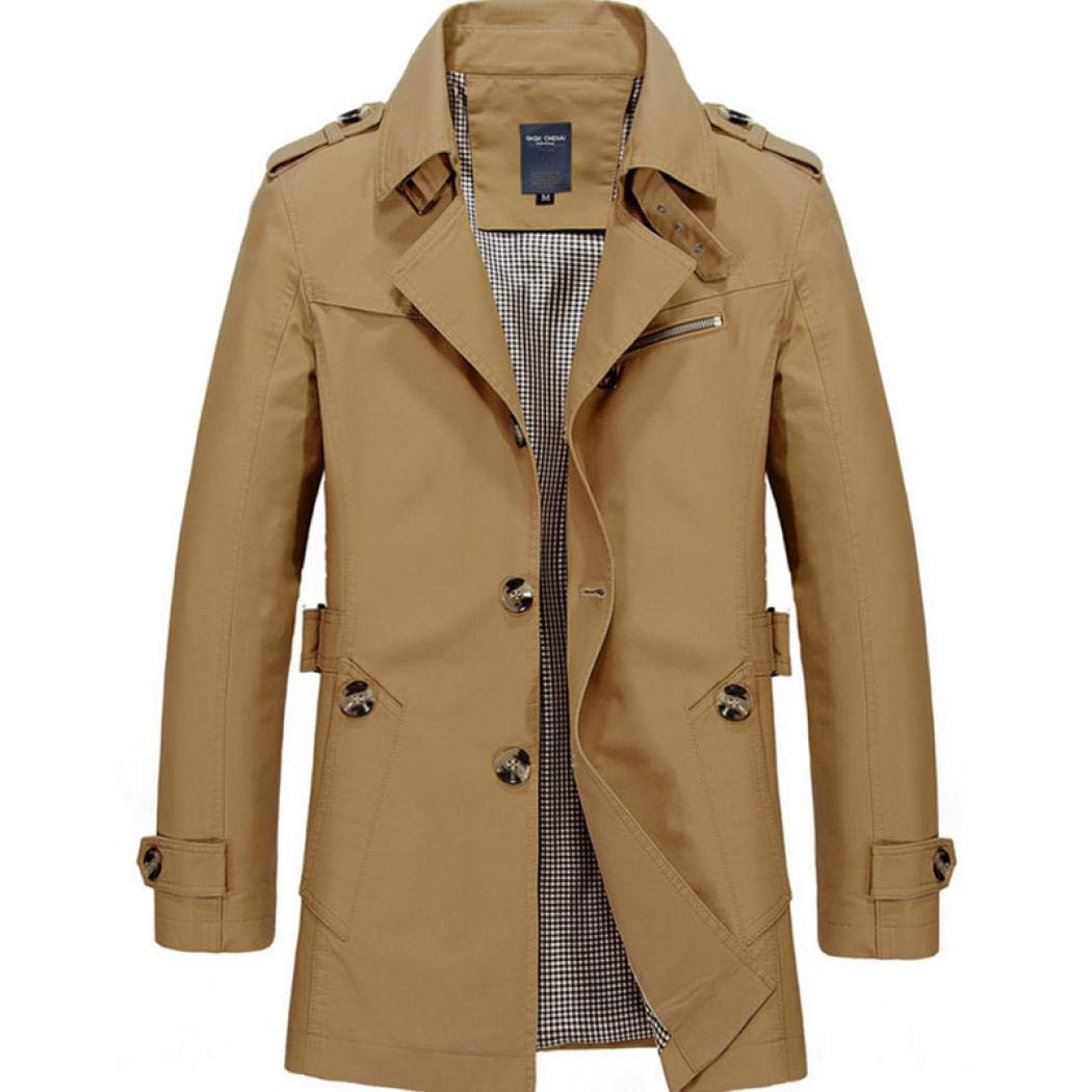 Men Single Breasted Trench Coat Pea Coat Overcoat Windbreaker Jacket Lightweight Slim Fit Notch Lapel Cotton Jacket Comeon
