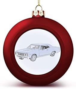 Christmas Ball Ornament, Classic Chevy Chevelle Muscle Car Pencil Drawing Xmas Tree Decorations, Holiday Hanging Balls
