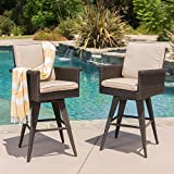 Marbella Outdoor Dark Brown Wicker Barstools with Sand Sunbrella Cushions (Set of 2) For Sale