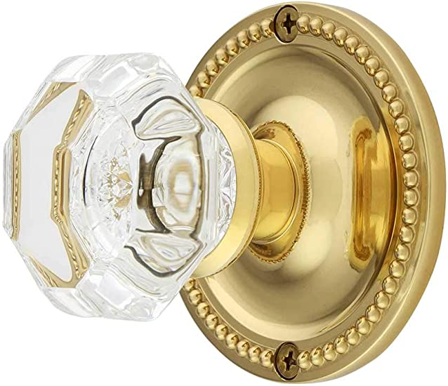 Antique Glass Octagon Knob Set with Polished Brass Rosettes