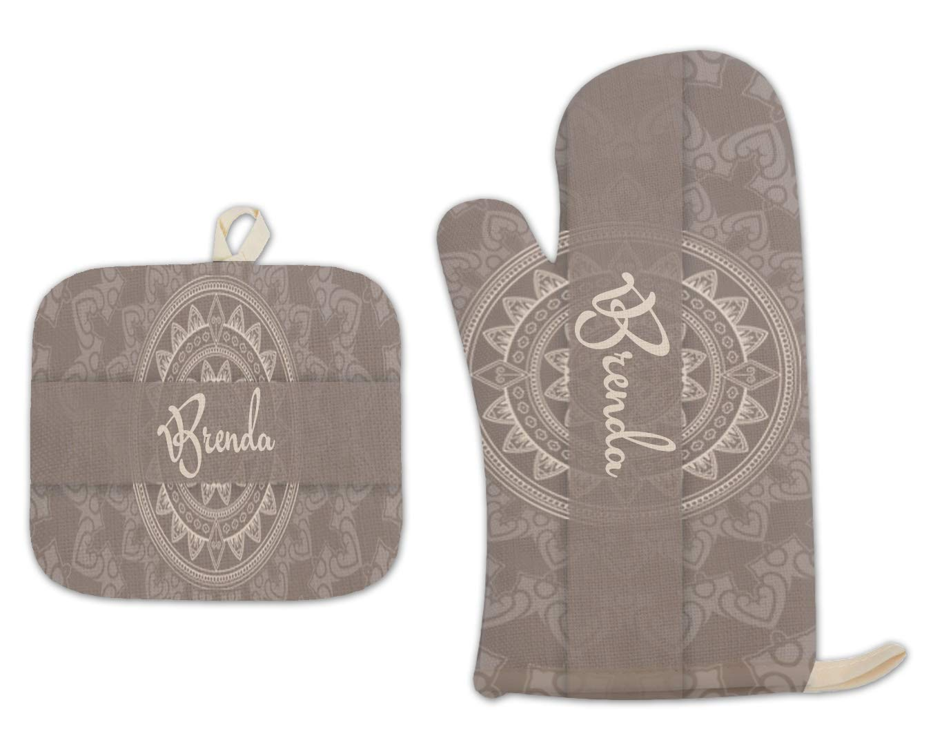 Bleu Reign BRGiftShop Personalized Custom Name Damask Natural Brown and Cream Print Linen Oven Mitt and Potholder Set