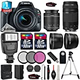 Canon EOS Rebel SL2 DSLR Camera + Canon 18-55mm IS STM Lens + Canon 75-300mm Lens + Flash + 0.43X Wide Angle Lens + 2.2x Telephoto Lens + 32GB Class 10 Flash Memory Card - International Version
