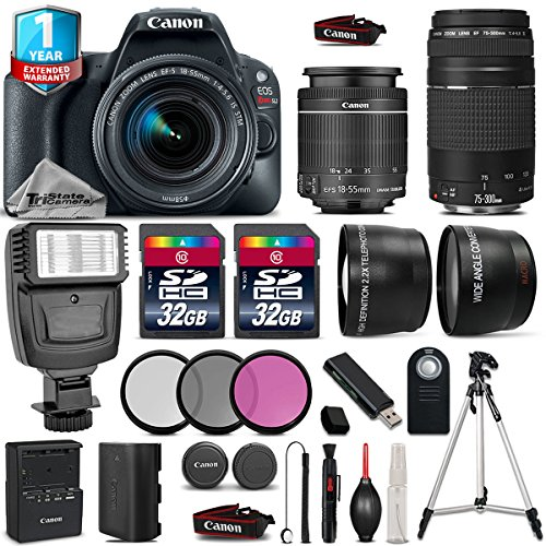 Canon EOS Rebel SL2 DSLR Camera + Canon 18-55mm IS STM Lens + Canon 75-300mm Lens + Flash + 0.43X Wide Angle Lens + 2.2x Telephoto Lens + 32GB Class 10 Flash Memory Card - International Version by TriStateCamera