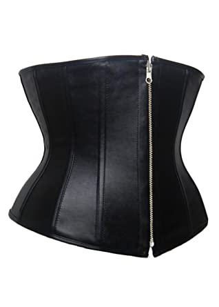 b0b7c07e36 Zipper Front Underbust Gothic Basques Bustier Lingerie Corset size 8-16  (M-UK-10)  Amazon.co.uk  Clothing