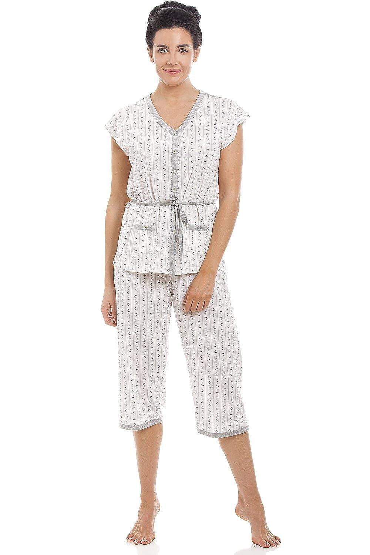 Camille Ladies Grey Cotton Blend Short Sleeve Full Length Pyjama Set