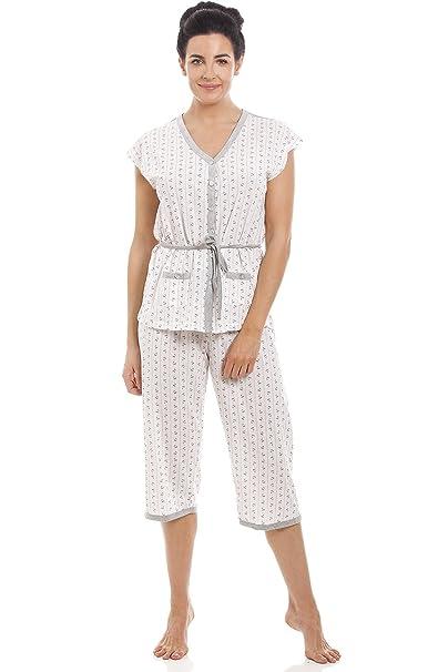 071a902dc Conjunto de pijama para mujer Manga corta y pantalón pirata Mezcla de  algodón  Amazon.es  Ropa y accesorios