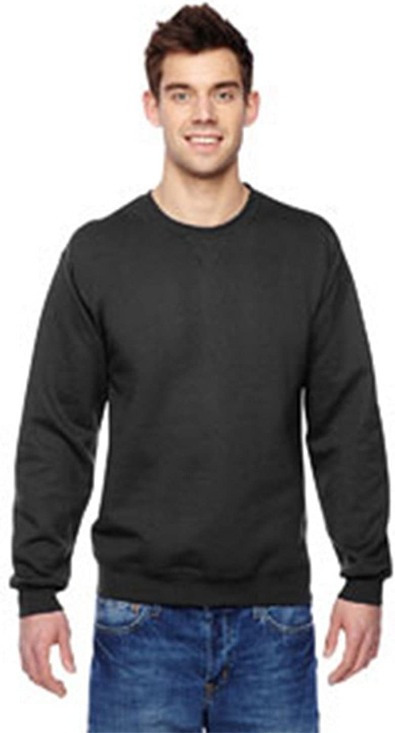 Fruit of the Loom mens 7.2 oz. Sofspun Crewneck Sweatshirt(SF72R)-BLACK-XL