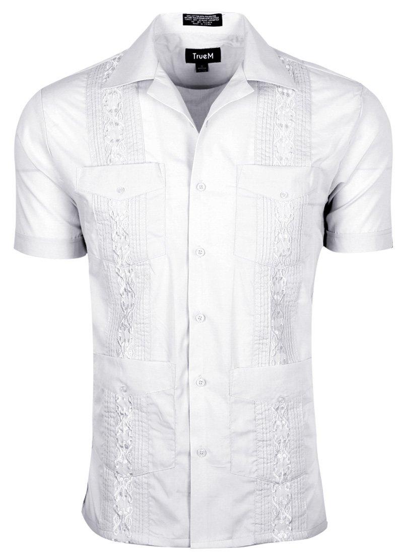 TrueM Men's Short Sleeve Cuban Guayabera Shirts (2XL, White)