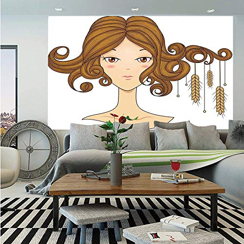 Astrology Huge Photo Wall Mural,Virgo Girl with Wheat Mercury Star of Planet Constellation Earth Sign Decoration Decorative,Self-Adhesive Large Wallpaper for Home Decor 108x152 inches,Ecru - Wheat Curtain Bamboo