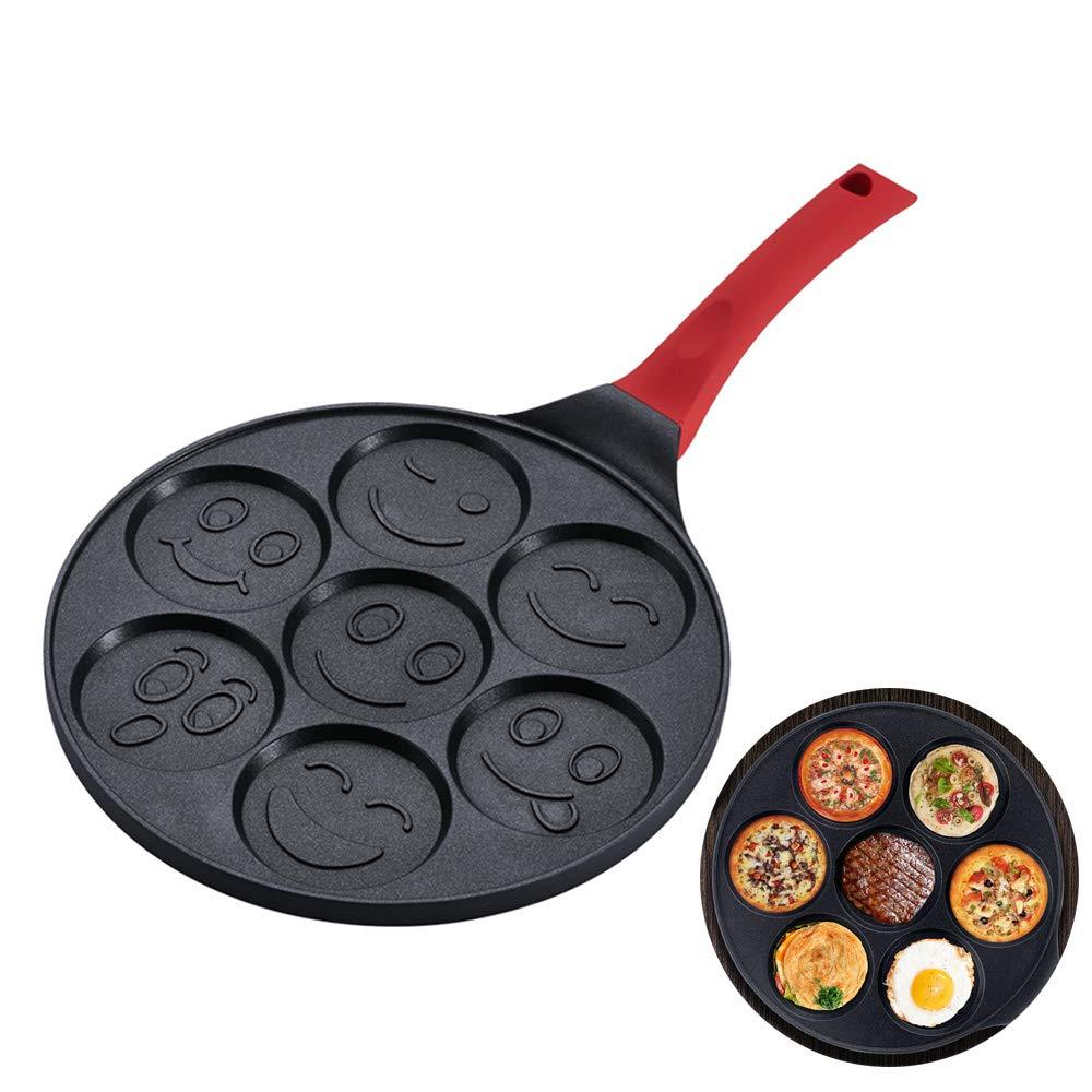 muffin Pan Waffles Maker pour enfants 46x17x2cm Smiley-gesicht Non-Stick Po/êle /à petit-d/éjeuner influencant Petite po/êle /à g/âteau avec trous pour la cuisson des po/êles /à /œufs de miroir