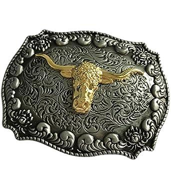 Long horn bull Cowboy Western belt buckle