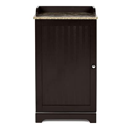 Brown Bathroom Floor Cabinet With Door Shelves Drawer Storage Cupboard Organizer