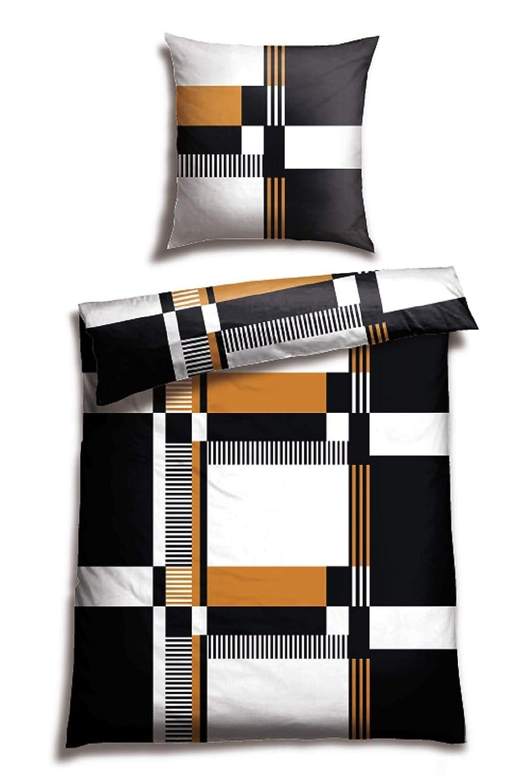 100/%Baumwolle Schiesser Wendebettw/äsche Doubleface Silber-Anthrazit 135x200cm