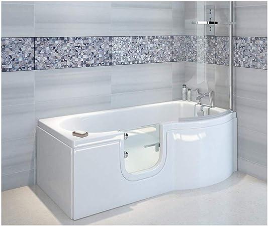 Bañera con puerta, senior bañera 167,5 x 85/75 x 53 cm Con Cabina ...