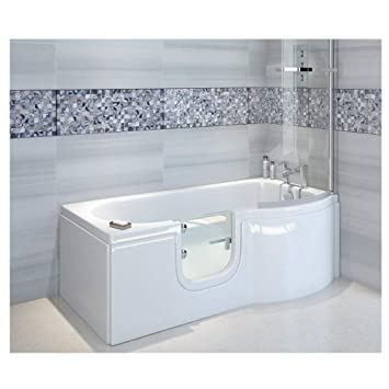 Badewanne mit Tür, Seniorenbadewanne 167,5x85/75x53cm mit ...