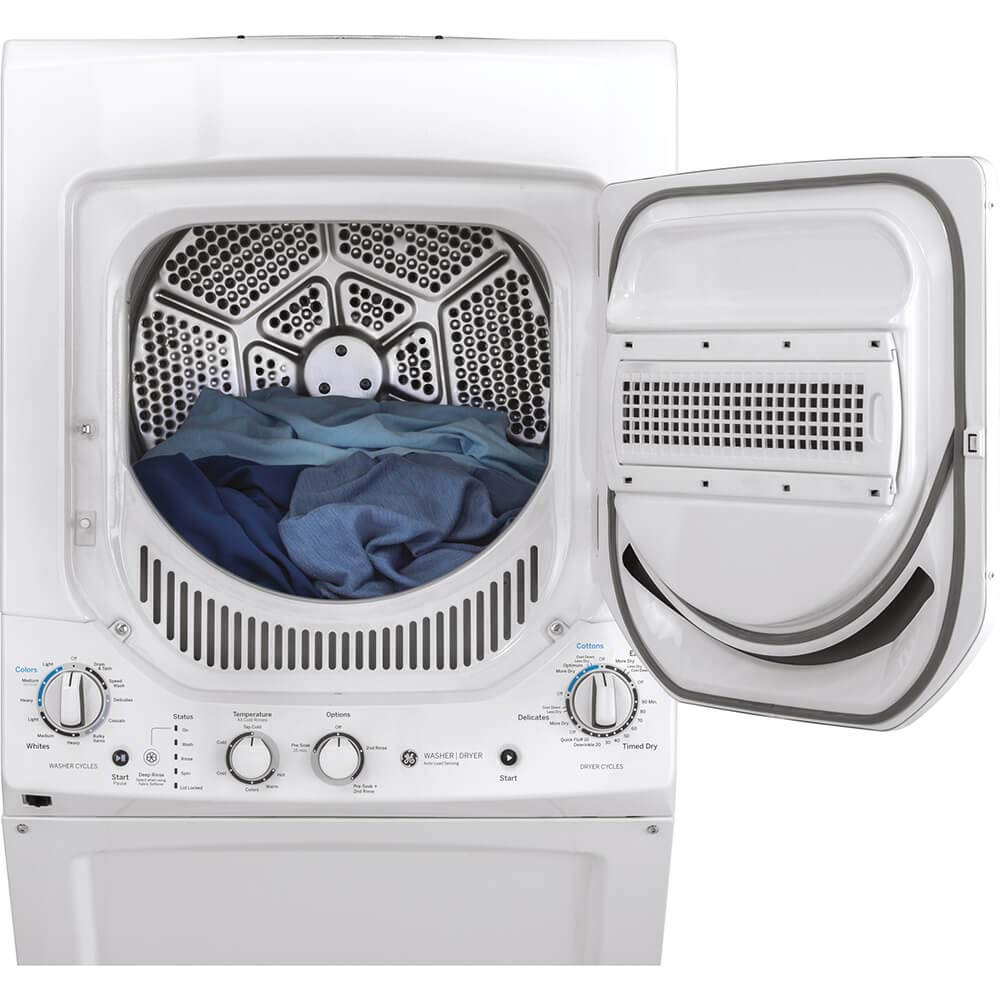 ft Washer Capacity in White GE GUD24ESSMWW 24 Inch Electric Laundry Center with 2.3 cu