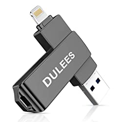 iPhone USB Flash Drive, DULEES Photo Stick for iPhone, USB 3.0 128GB Lightning External Memory Storage for iPhone iPad iMac Android PC Backup Pictures Thumb Jump Drive (Dark Gray)