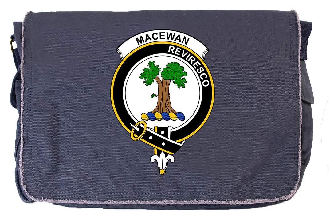 Tenacitee Scottish Clan Crest Badge MacEwan Khaki Green Raw Edge Canvas Messenger Bag