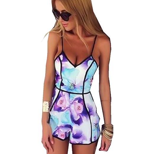 bb170f594a58 Amazon.com  SMTSMT Women s V-Neck Floral Jumpsuit Playsuit Rompers ...