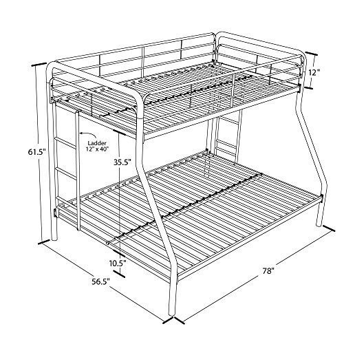 Dhp Twin Over Full Bunk Bed Metal Frame Ladder Space