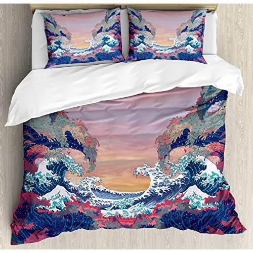 Top Ambesonne Modern Duvet Cover Set King Size, Colorful Fantasy Sea Waves Ocean Modern Fictional Nautical Magic Artsy Illustration, Decorative 3 Piece Bedding Set with 2 Pillow Shams, Multicolor free shipping