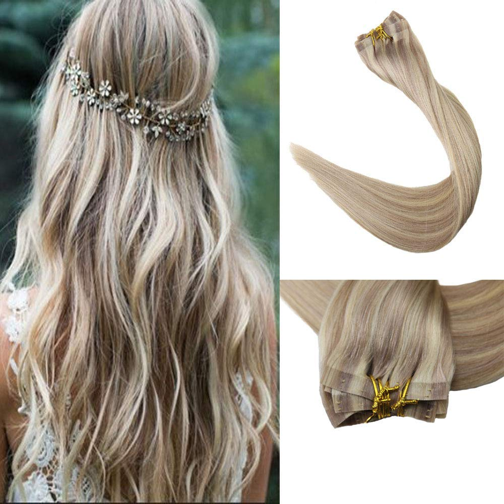 Full Shine 8 Pieces 18 Inch 120 Gram Color 18 Ash Blonde Highlighted With 613 Blonde Seamless Clip In Real Human Hair Extensions Full Head Clip In Tape Remy Human Hair Skin Weft Clip in Extensions