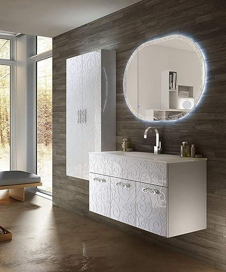 Mobile Bagno Sospeso Moderno Floreale Miami Bianco Lucido Misura Cm