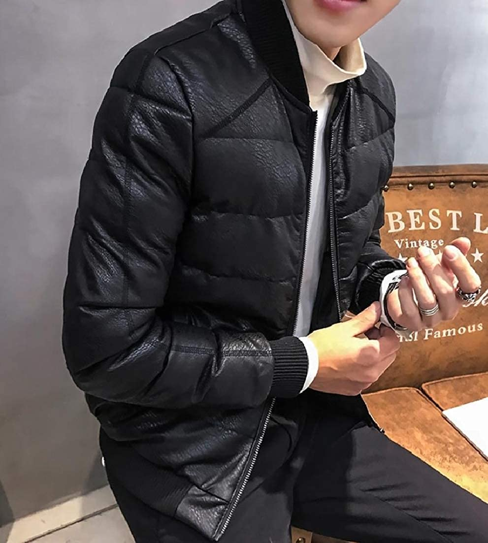 AngelSpace Men Leather Warm Puffer Outwear Quilted Loose Padded Thick Coat
