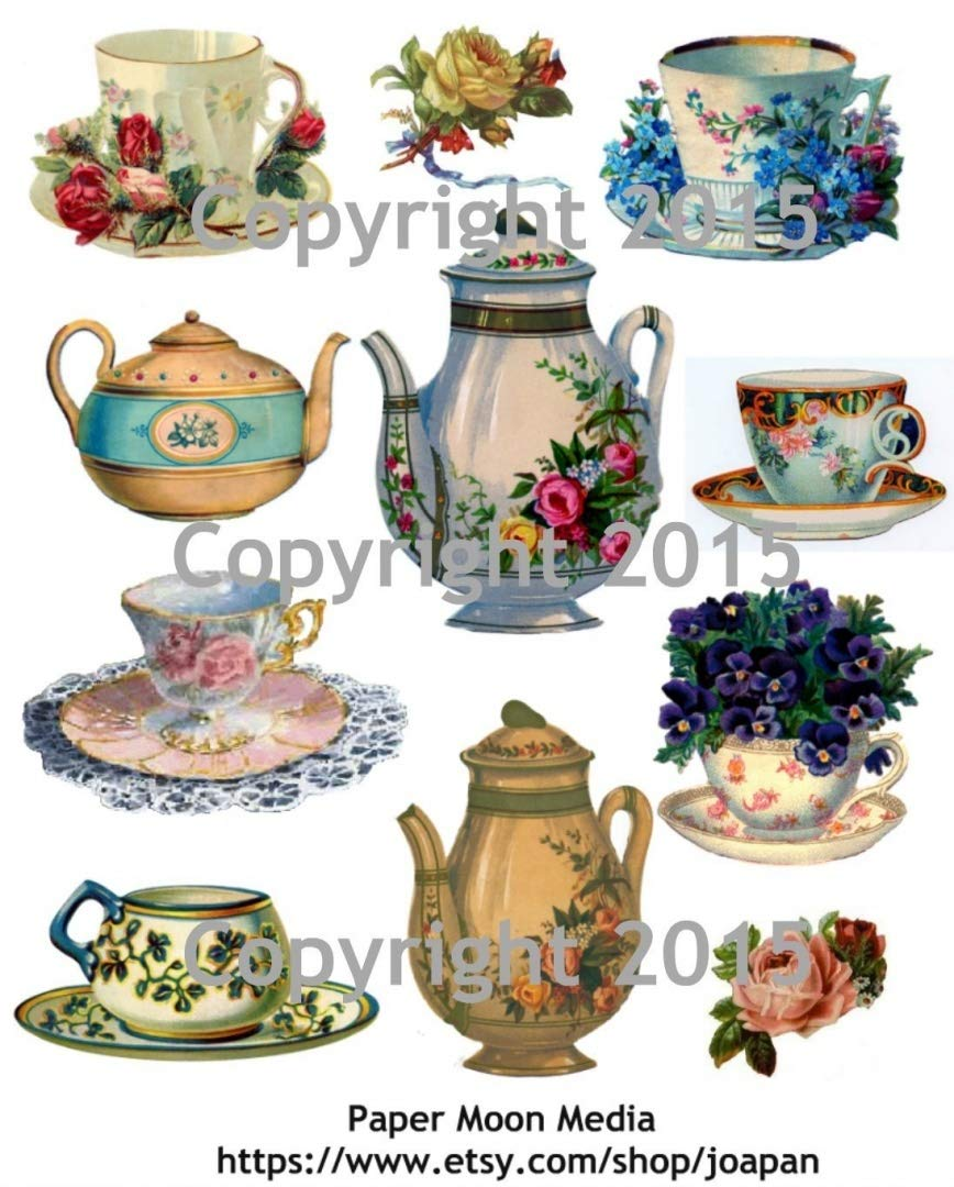 Victorian Teapot and Teacups with Flowers Collage Sheet Paper Moon Media