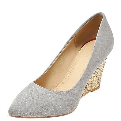 6490c1b8a28f6c YE Damen Spitze High Heels Keilabsatz Pumps mit Glitzer Absatz Party Elegant  Schuhe