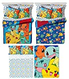 Pokémon 6 Piece Kids Full Bedding Set - Reversible Comforter, Sheet Set with 2 Reversible Pillowcases and Ultra Soft Throw Blanket